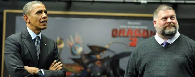 HOW TO TRAIN YOUR DRAGON 2 director Dean DeBlois presents mo-cap to Barack Obama at Dreamworks