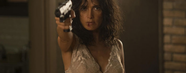 First photo and info on Joe Lynch's new action thriller EVERLY starring Salma Hayek